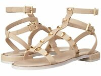 Kenneth Cole New York Neve Nude Gold Studded Gladiator Sandals Women Size 7.5