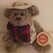 "Tanner Brass Button Collectibles Bear NWT 9"" Tall Plush Stuffed Animal Toy"