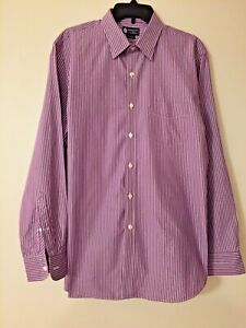 J.Crew Haberdashery Men's Button Up Shirt Long Sleeve L 16-16 1/2 Orchid Stripe