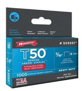 "Arrow Fastener 505SS1 Stainless Steel T50 Staples, 5/16"""