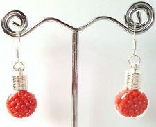 Handmade Mini Glass Bottle Earrings Filled w Red Orange Genuine Coral Seed Beads