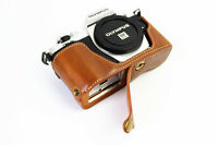 Brown Leather Bottom half Case bag For Olympus E-M10 Mark II, EM10 II, EM10II