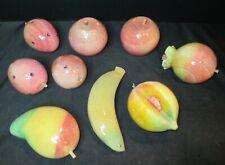 Alabaster Marble 9 Piece Mango Banana Pomegranite 3 Peaches 2 Apple Sliced Peach