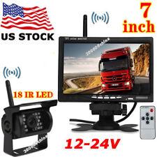 "12V-24V 7"" Wireless Rear View Monitor +RV Truck Trailer Waterproof Backup Camera"