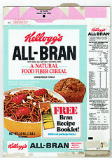 Kellogg's All-Bran Empty 16 oz. Box 1977 Recipe Booklet Offer