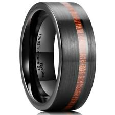 Carbide Mens Wedding Ring New* Wood Inlay Polish Black Genuine Tungsten