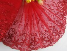 "7""*1yard delicate  red embroidered flower tulle lace trim for DIY 240"