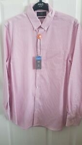 Mens Pink Striped Tailored Fit Formal Shirt Size L From Marks And Spencer Brand