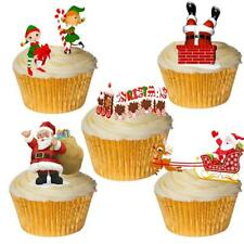 24 Stand Up Cute Santa & Elf Christmas Edible Wafer Paper Cupcake Cake Toppers