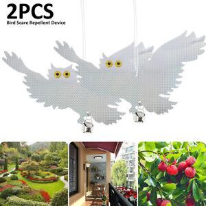 2pcs Reflektierende Vogelschreck Vogelabwehr Vogelschutz Eulen Garten Dekoration