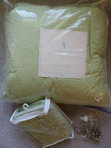 Pottery Barn Kids Green Gingham Twin Down Comforter & Shower Curtain SET +bonus!