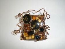 Handmade Pin Brooch Vintage Typewriter Keys Beads Wire EUC #704
