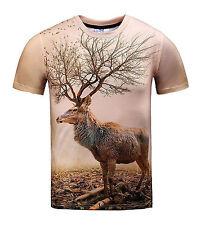 T-shirt Maglietta Stampata Suicidio Cervo Natura maniche corte 3D Art Print XXL