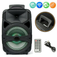 "8"" 1000W Wireless Portable Party PA Bluetooth Speaker Heavy Bass Sound W/ Remote"