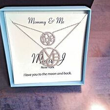 "Mother-Daughter Sterling Silver Matching ""LOVE CIRCLES""   2 Necklaces   MJ-11A"