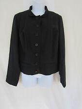 Jessica London Womens Black Long Sleeve Button Down Linen Coat Top sz 12
