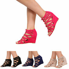 NEW WOMENS HIGH HEEL WEDGE STRAPPY LACE UP LADIES SANDAL SHOES SIZE 3-8
