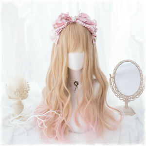 Sweet Lolita Curly Hair Wigs Dolly Harajuku Cosplay Wigs Apricot + Pink Gradient