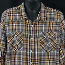 Topman Size XL Pearl Snap Shirt Plaid Western Rockabilly Urban Cowboy Designer