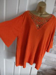 M&S ● size 22 ● orange fine knit jumper top womens ladies