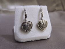 Sterling Silver Diamond Pave Heart Dangle Drop Earrings S925 .20CTW  (NJL015060)