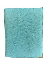 More details for aspinal of london light blue leather note pad and pen boxed.