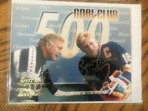 Bobby & Bret Hull Signed 8x10 500 Goal Club Hockey Photo The Golden Jet