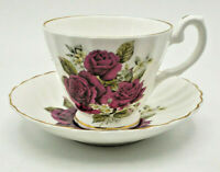 Crown Dorset Bone China Staffordshire England Burgundy Rose Tea Cup & Saucer