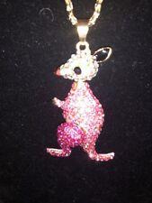 Betsey Johnson Necklace Pink KANGAROO Gold Crystals Gift Box Organza Bag