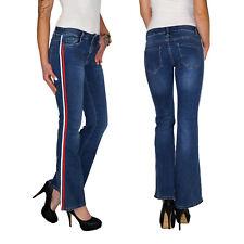 Damen Bootcut Schlag Hose Straight Leg Kick Flare Jeans Mit Seitenstreifen E201