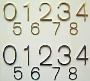 "Modern Design Chrome or Brass Door Numbers Size 2"" *50% price reduction*"