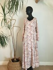 Vintage 100% Cotton Delicate Floral Midi Dress On Trend Boho