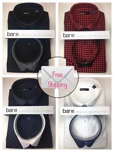 Bar III Interchangeable Collar Long Sleeve Dress Shirt $69
