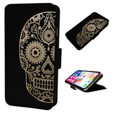 Aztec Skull Design - Flip Phone Case Wallet Cover - Fits Iphone & Samsung