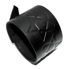 heartagram symbol black Leather Cuff Bracelet-will fit small to large HandmadeUK