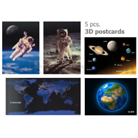 5 x 3D postcard – Earth, World day & night, Space walk, Moon walk, Solar system