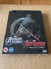 Avengers Assemble & Age Of Ultron Steelbook Blu Ray 3D/2D Double Pack NEW/SEALED