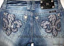 MISS ME Straight Denim Jeans Womens 25 FLEUR DE LIS Crystals BLING Distressed