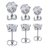 3mm 4mm 5mm ROUND CZ 316L SURGICAL STAINLESS STEEL STUD CUBIC ZIRCONIA EARRINGS