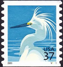 US - 2003 - 37 Cents Snowy Egret Bird Coil #3829 Plate # Single Plate # V2111 VF