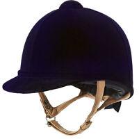 Charles Owen Fian Velvet Riding Hat Helmet, Showing, Navy, Black
