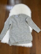 Zadig Voltaire wool mohair pullover sweater crewneck zip side size L gray new