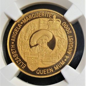 Zambia: 2000 Gold 10,000 Kwacha Queen Mother's Birthday Coins NGC PF69 UC.