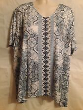 Catherines Plus Size 5X Shades Of Blue V Neck Shirt Top