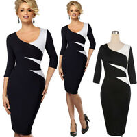 Elegant Women Midi Pencil Dress Bodycon 3/4 Sleeve Office Skirt Evening Cocktail