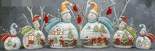 Ceramic Bisque Ready to Paint (6) Snowmen with Christmas Scenes electric incl.