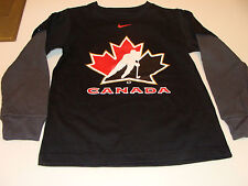 2011-12 Team Canada Age 12/14 M Logo Fooler Thermal Sleeves T Shirt Black