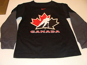 2011-12 Team Canada Age 6 Logo Fooler with Thermal Sleeves T Shirt Black