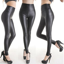 Women's Stretchy High Waisted Leather Look Skinny Pants Trousers Leggings Size L