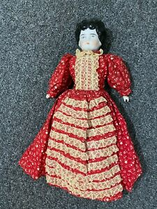 """Victorian China Head Doll- 15""""- Marked Germany- Red Calico Dress-VG- CHARMING"""